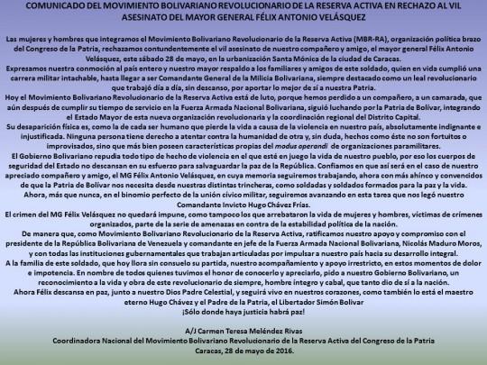 COMUNICADO DEL MOVIMIENTO BOLIVARIANO REVOLUCIONARIO DE LA RESERVA ACTIVA EN RECHAZO AL VIL ASESINATO DEL MAYOR GENERAL FÉLIX ANTONIO VELÁSQUEZ